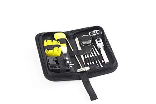 Sutekus - Kit de herramientas de reparación de reloj para la parte posterior del abridor de resorte, juego de herramientas multifuncionales con funda