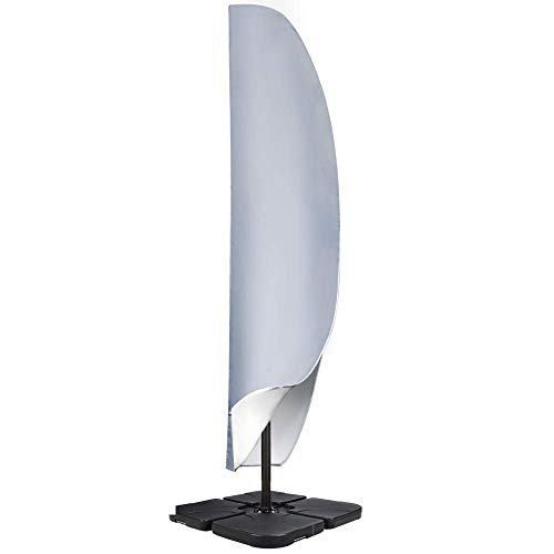 OKPOW Abdeckung für Ampelschirm, Gardenline Sonnenschirm Schutzhülle 3m mit Reißverschluss, wasserdichte Abdeckung für Ampelschirm(Grau)