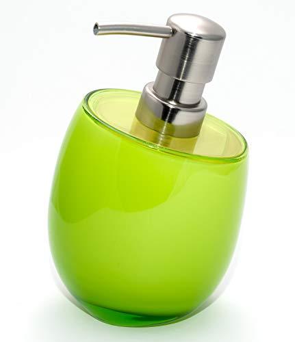 Tatkraft Immanuel - Dispenser di Sapone Acrilico Infrangibile Ricaricabile da 270 ml - Verde Lime, Pompa Inossidabile Spazzolato - Bagno, Cucina, Lavanderia