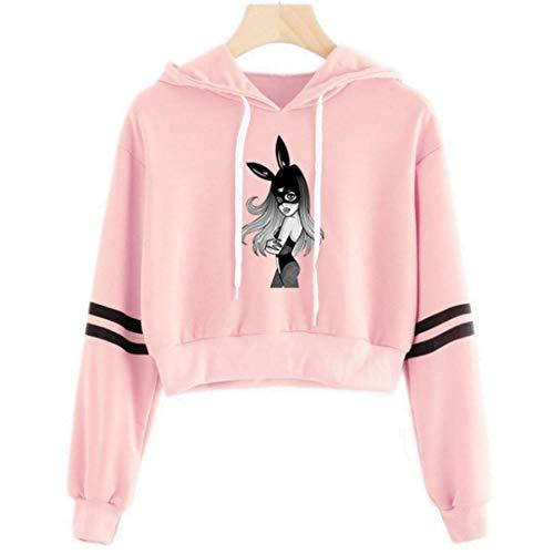 Sudaderas con capucha para ombligo para mujer, casual, color rosa