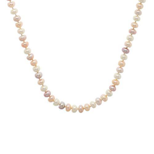 Damen Perlenkette echt Silber 925 Sterlingsilber rhodiniert mit echte Süßwasserzucht-Perlen Halskette 54 cm