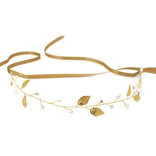 Lurrose Estereoscópica moda simple hecho a mano novia perla pelo banda tocado...