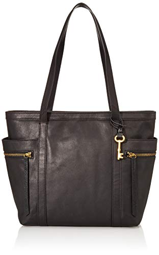Fossil Women's Caitlyn Leather Tote Handbag, Black