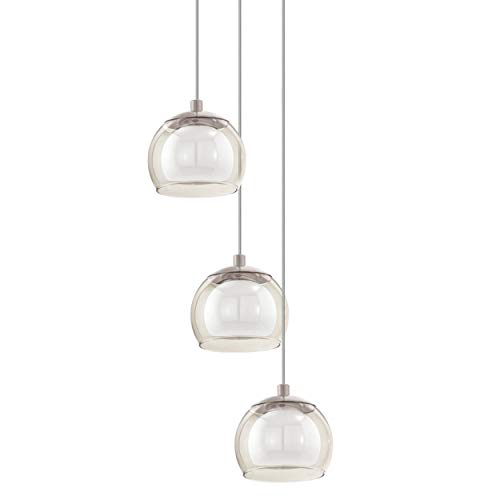 EGLO LED Pendelleuchte Romagnese, 3 flammige Hängelampe, Hängeleuchte aus Stahl und Glas, Esstischlampe, Wohnzimmerlampe hängend in Nickel-Matt, Amber, weiß Romagnese