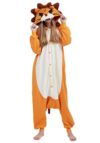 Pijama Animal Entero Unisex para Adultos con Capucha Cosplay Pyjamas Naranja León Ropa de Dormir Traje de Disfraz para Festival de Carnaval Halloween Navidad