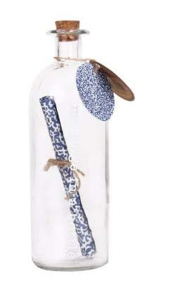 Helio Ferretti Mensaje en una Botella.Botella de Cristal con un papiro Dentro Enrollado para Que Puedas Poner Tus Mensajes. Se Cierra con un tapón de Corcho.