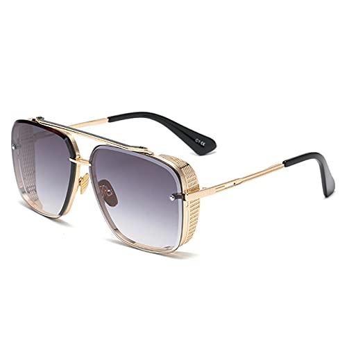 WJJ Gafas De Sol con Gradiente De Moda, Gafas De Sol Cuadradas con Personalidad para Mujer, Marco De Metal con Espejo De Sombra De Color Degradado para Fiesta De Ocio En La Playa,Gris