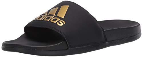 adidas Herren Adilette Comfort Slides, Komfort, Schwarz/Gold Metallic/Schwarz, 47 EU