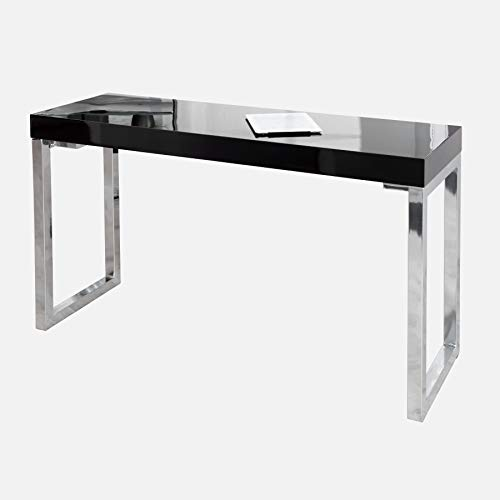 Invicta Interior Design Laptoptisch White Desk 120x40 cm Hochglanz schwarz Tisch Beistelltisch Schreibtisch Schminktisch