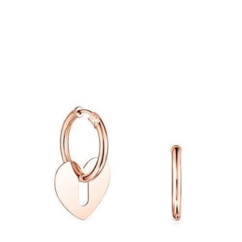 Pendientes Hold Metal corazón de Plata Vermeil rosa