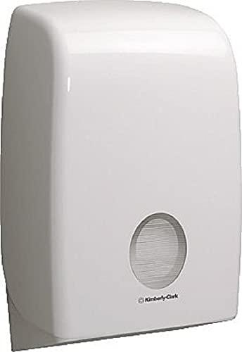 Aquarius Papierhandtuchspender für Falthandtücher, Wandmontierter Handtuchspender, Hygienische Einzelblattentnahme, Weiß, 6945