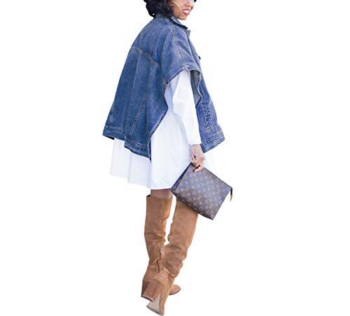 Women's Fashion Loose Denim Cloak Coats Washed Destroyed Denim Jackets Outerwear Vests 5