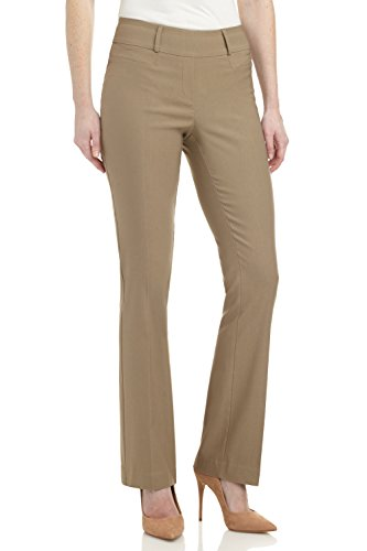Rekucci Women's Ease in to Comfort Fit Barely Bootcut Stretch Pants (18,Oatmeal)