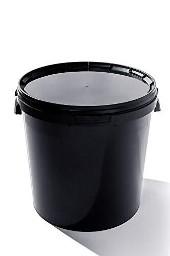 Eimer mit Deckel | Schwarz 3x 30L | Kunststoffeimer Deckel Lebensmittelecht Hochwertiger