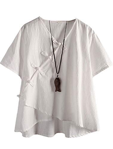 FTCayanz Damen Leinen Tunika Tops V-Ausschnitt Knopfleiste Bluse Kurzarm T-Shirt Weiß M