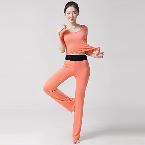 qqff Leggings Yoga Mujeres Gym Mallas Pantalones Elásticos,Traje de Yoga de Dos Piezas para Gimnasia,Ropa Deportiva de Baile Femenino-Naranja 2_XXXL,Gimnasio Fitness Mujer Yoga Traje Entrenamiento