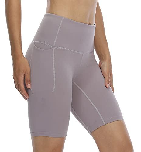 CQC Pantalones cortos de yoga de cintura alta para mujer, pantalones cortos de compresión para correr, para bicicleta, bolsillos laterales - - Large
