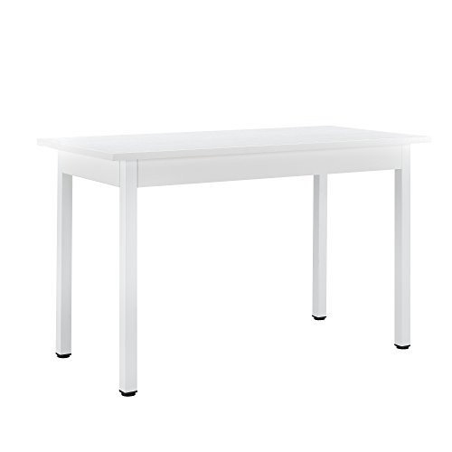 [en.casa] Tavolo da Pranzo Turku 120 x 60 cm 4 Posti Tavolo da Cucina MDF Acciaio Bianco
