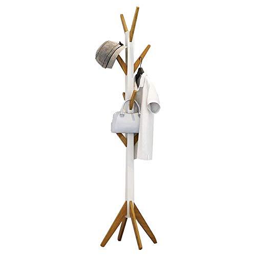 ODT Perchero de pie con 8 ganchos, madera y bambú, color blanco