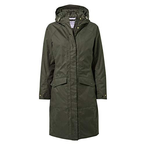 Craghoppers Women's Mhairi Hooded Jacket Long Length Winter Waterproof Coat with Quilted Insulating Liner - Mid Khaki, XL