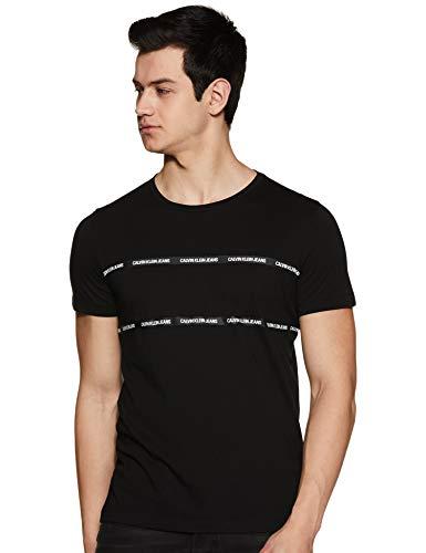 Calvin Klein Jeans Herren Instit Tape Detail Slim T-Shirt Hemd, Ck Schwarz, M
