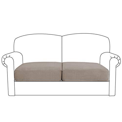 BellaHills Sofa Sitzkissenbezug Stretch Stuhl Schonbezug Spandex Elastic Couch Kissenbezüge Möbelschutz für Sofa Sitzkissen(2 Sitzer Kissen, Taupe