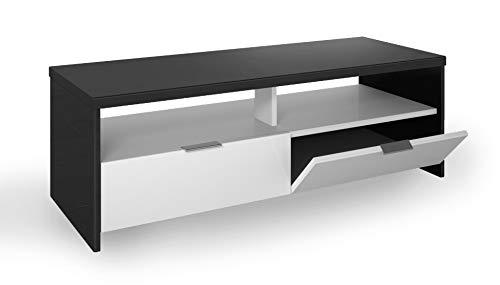 Berlioz Creations Edison szafka pod umywalkę TV, foliowana płyta wiórowa, czarna i biała, 110 x 41 x 38 cm