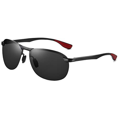 AORON Polarisierte Herren Sonnenbrille Metallrahmen UV400 Fahrerbrille Sportbrille Eyewear (Schwarz)