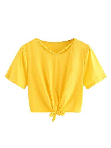 SweatyRocks Women's Loose Short Sleeve Summer Crop T-Shirt Tops Blouse Yellow#3 S