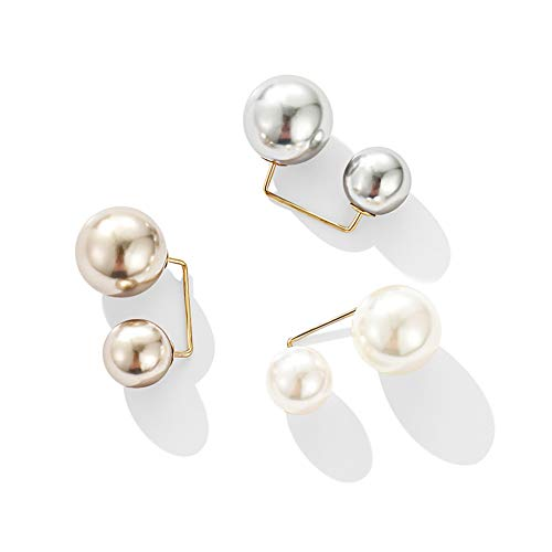 3 Pairs Fashion Pearl Brooch Saf...