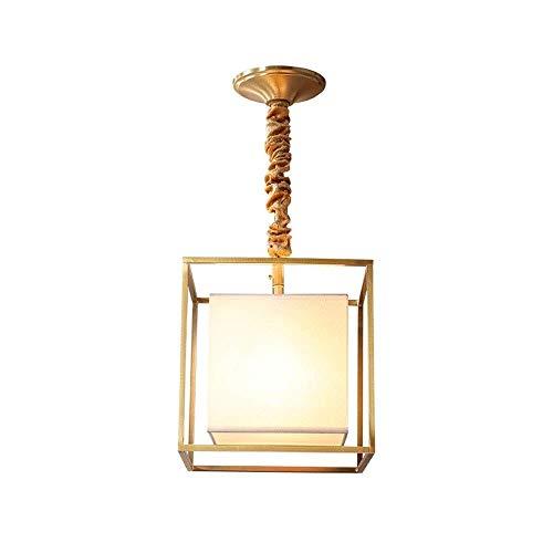 CHENJIA Araña cuadrados iluminación de la lámpara del pasillo del pasillo American Copper Luces Salón casero Hogar pequeña lámpara de araña de cobre en la alcoba Iluminación