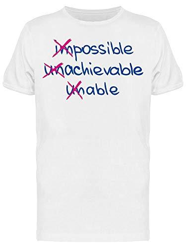 Camiseta masculina Impossible Achievable Unable, Branco, 3X-Large