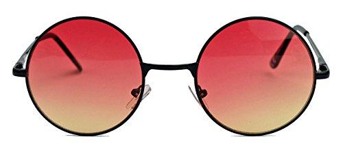 runde Retro Sonnenbrille im Lennon Stil Metallrahmen Nickelbrille Klassiker im 60er 70er Jahre Vintage Look - viele Farben LNS (Schwarz/Rosa Ombre)