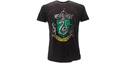 T-Shirt Maglietta Stemma Casa Serpeverde Harry Potter - Ufficiale Warner Bros (XS 12-14 Anni)