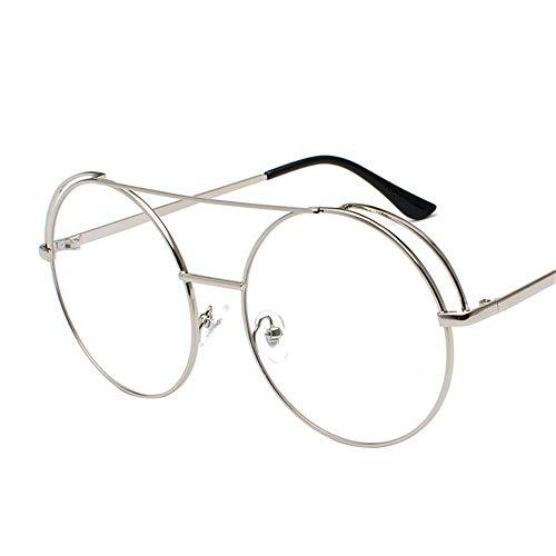 Gafas de sol de metal de doble viga para hombre y mujer, con marco redondo, espejo plano, gafas de sol de moda
