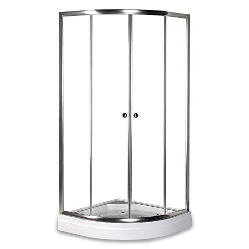 Home Deluxe - runde Duschkabine - Drop - inkl. Duschtasse und Glasaufsatz - Verschiedene Größen - 100 x 100 cm