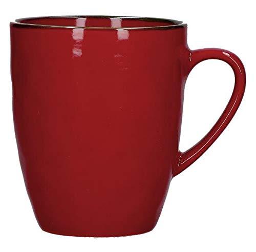 Rose e Tulipani Concerto Rosso Fuoco Vintage Becher im Landhausstil 430ml Rot Tasse Kaffeebecher Kaffeetasse italienisch Steinzeug