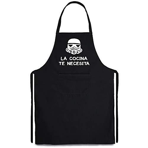 Delantal Star Wars, La Cocina te Necesita. Logo Comic Parodia. Delantal Friki.