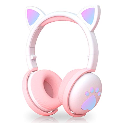 Kids Headphones Wireless, Girls Cat Ear Bluetooth Headphones Foldable LED Light Up Headphones Over On Ear with Microphone for iPhone/iPad/Smartphones/Laptop/PC/TV/Remote Schooling (dark purple)