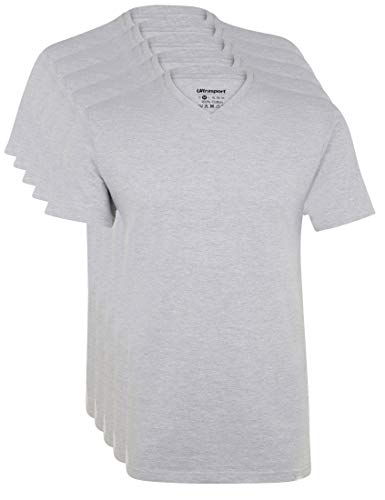 Ultrasport Herren Sport Freizeit T-Shirt mit V-Ausschnitt 5er Set, Grau Melange, L