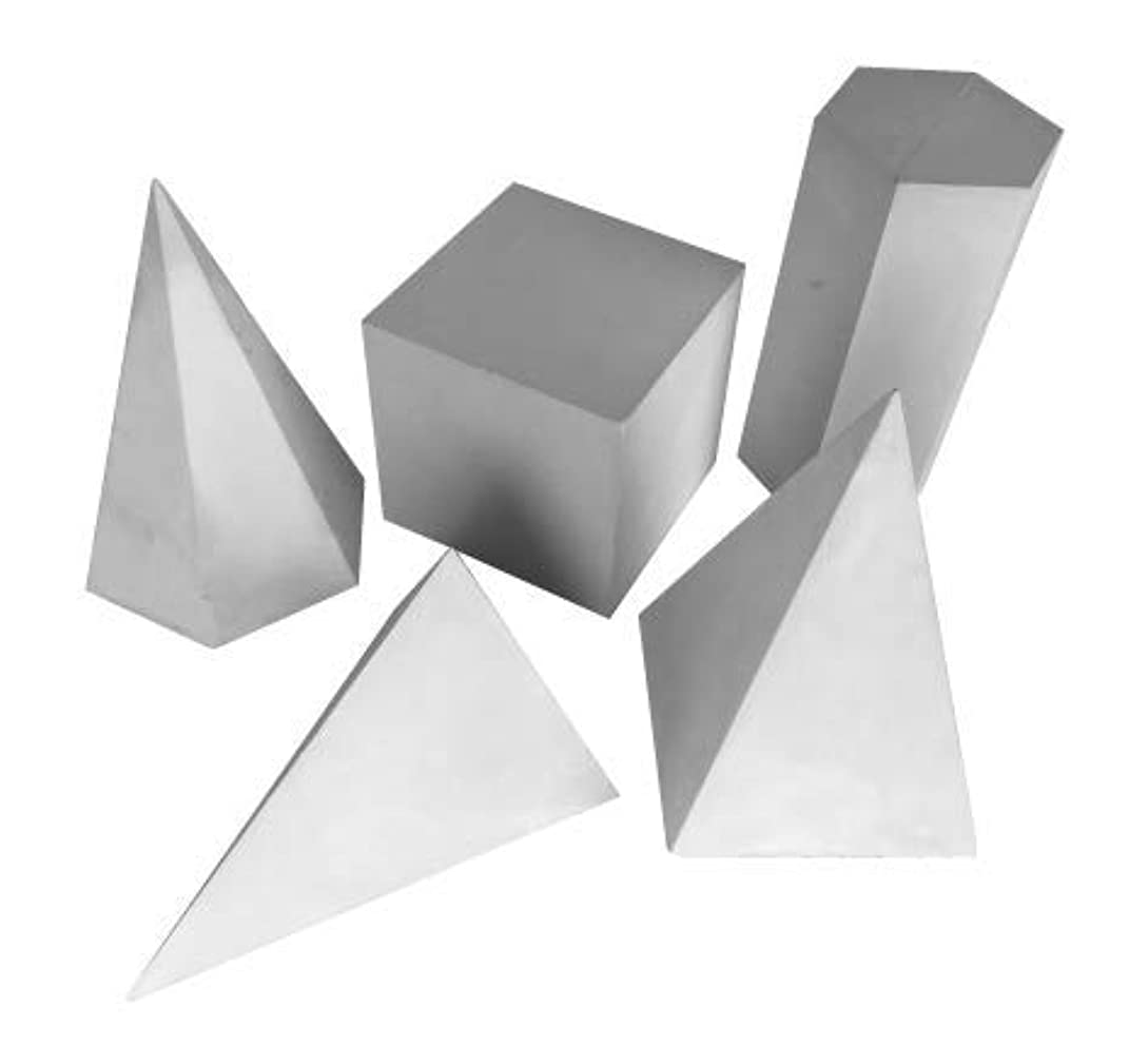 Torino Art Studio Plaster Cast Shapes Teaching and Drawing,Painting, Sketching Aid Sculpture Set of 5 Shapes Set #3 (Set #3)