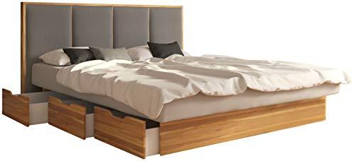 SuMa - Komplett Wasserbett 200x200 dual mit Schubladensockel Wildeiche Eiche und Kopfteil Quaddro, Farbe lightgrey 200x200 cm
