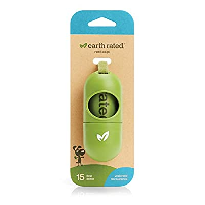 Earth Rated Dog Poop Bags Dispenser, Dog Poop Bag Holder Includes 1 Roll of 15 Unscented Eco-friendly Poop Bags
