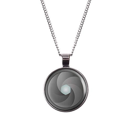 Mylery Hals-Kette mit Motiv Blende Aperture Objektiv Digital-Kamera DSLR Silber 28mm