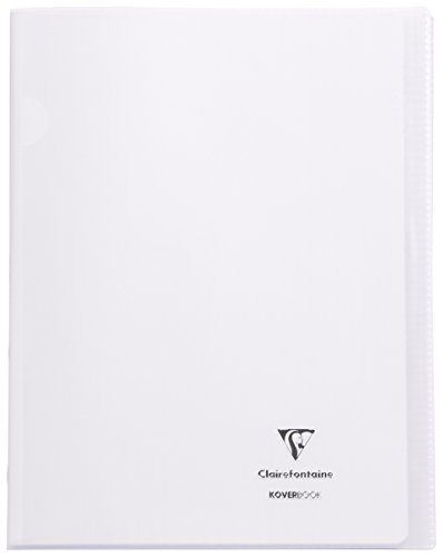 Clairefontaine 984420C - Un cahier piqué Koverbook 48 pages 24x32 cm 90g grands carreaux, couverture polypro (plastique) transparente, Incolore