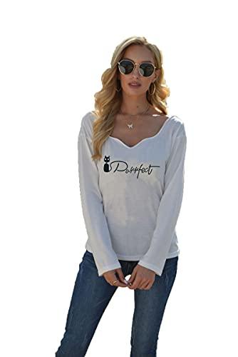 SLYZ 2021 Camiseta De Manga Larga De Primavera para Mujer Camiseta con Estampado De Letras A La Moda Camiseta De Todo Fósforo Top para Mujer