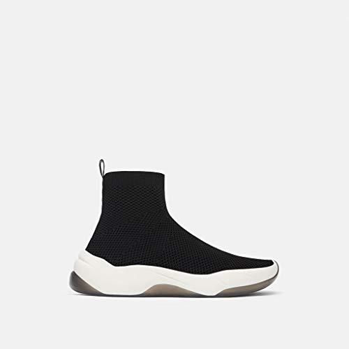 Shukun enkellaarsjes Women'S Schoenen Stretch Stof Sneakers Dikke onderkant Gebreide Sokken Enkellaarzen