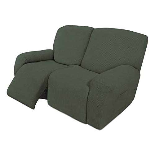 Easy-Going Funda elástica para sofá reclinable de 6 piezas, suave con parte inferior elástica, tela jacquard de licra a cuadros, color verde oliva