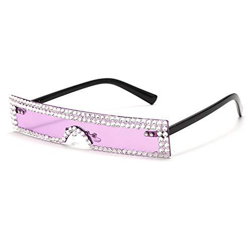 ShSnnwrl Único Gafas de Sol Sunglasses Nuevas Gafas De Sol Rectangulares para Mujer, Diseñador De Lujo A La Moda, Rojo, Rosa, Tra