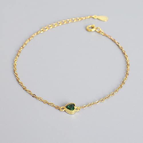 Shangwang - Pulsera de plata de ley 925 con circonita verde en forma de corazón para mujer, color dorado